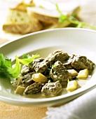Capriolo alle spugnole (venison ragout with morels, Italy)