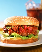 Hamburger with chili con carne sauce