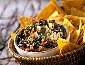 Hot black bean dip with tortilla chips