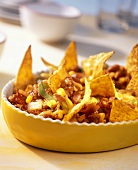 Mexican chili con carne with tortilla chips