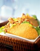 Taco shells with turkey and salad