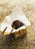 Black truffles in chip basket on stone background