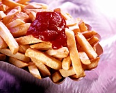 Chips with blob of ketchup
