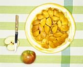 Tarte tatin on plate; knife; fresh apples