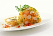 Fish, shrimps and herbs in jelly