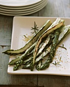 Roasted green asparagus in mustard oil