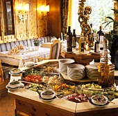 Salad buffet in rustic restaurant