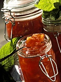 Nectarine jam in jars
