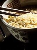 Brown rice in Asian bowl