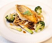 Pike-perch fillet with ginger & lemon grass on Somen noodles