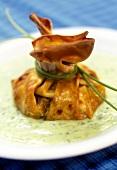 Mushroom strudel on parsley sauce