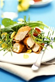 Wild herb salad & chicken breast in zwieback (rusk) panade