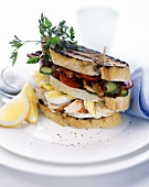 Crab, vegetable and egg sandwich