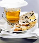 Marzipan and raisin stollen with tea