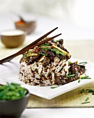 Wild rice with beef and chives