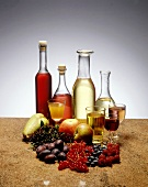 Various fruit wines and fresh fruits