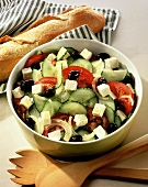 Greek peasant's salad with sheep's cheese