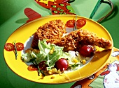 Chicken in cornflake crust with salad for children