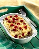 Sweet quark lasagne with cherries (cold quark & pasta dessert)