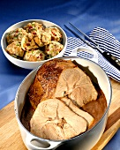 Roast veal with bread and vegetable dumplings