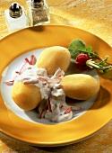 Boiled potatoes with radish dip