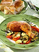 Chicken leg with courgettes, herbs and flatbread
