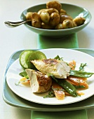 Chicken breast with lime butter and new potatoes