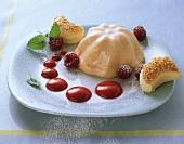 Berliner Luft (light apple & egg dessert) with raspberry sauce