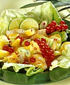 Turkey breast with fruity salsa on lettuce