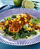 Barbecued salmon with mango salsa and chard