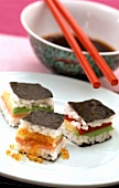 Sushi sandwiches with soy sauce