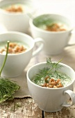 Cucumber soup with shrimps and dill