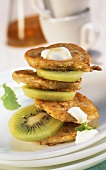 Buckwheat pancakes with kiwi fruit and yoghurt
