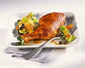 Chicken thighs with dried fruit and leeks