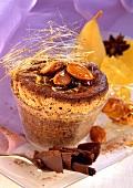 Almond chocolate soufflé with caramel strands