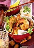 Shrimps, meat and vegetables in almond panade with dip