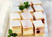 Dutch cherry cake slices and cheesecake slices