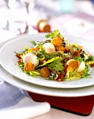Winter salad with quail's eggs and croutons