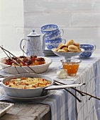 Swedish buffet with pan-cooked potato dish and baked apples