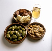 Assorted tapas with glass of sherry