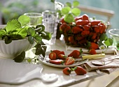 Summer still life with fresh strawberries