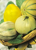 Various sweet melons in basket