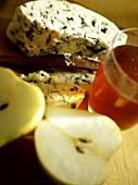 Roquefort and halved apple