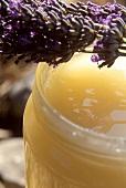Lavender honey in jar