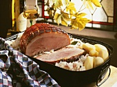 Baked ham with potatoes and sauerkraut (Alsace)