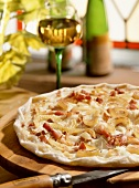 Alsatian tarte flambe with bacon and onions