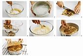 Saure-Sahne-Kuchen mit Nüssen zubereiten