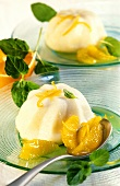 Semolina flummery with orange sauce and fresh mint