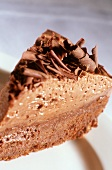 Piece of chocolate cream cake with grated chocolate