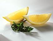 Lemon wedges and parsley